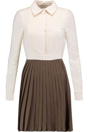 VALENTINO Pleated paneled crepe mini dress