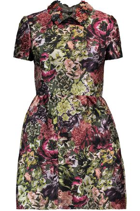 VALENTINO Appliquéd leather-trimmed printed silk-blend mini dress