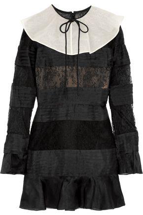 VALENTINO Organza-paneled corded lace mini dress