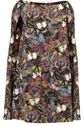 VALENTINO Cape-effect floral-print wool and silk-blend mini dress