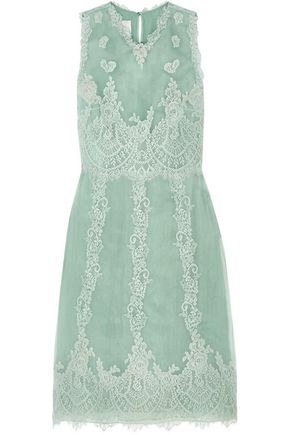 VALENTINO Lace-trimmed silk dress
