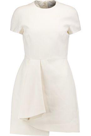 VALENTINO Pleated wool and silk-blend mini dress