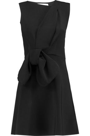 VICTORIA, VICTORIA BECKHAM Bow-embellished stretch-knit mini dress