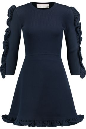 VICTORIA, VICTORIA BECKHAM Ruffle-trimmed ribbed-knit mini dress