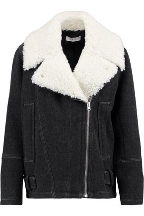 IRO Shearling-trimmed wool-blend jacket
