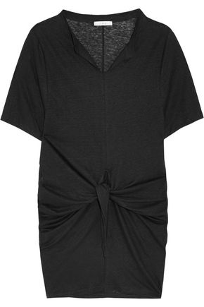 IRO Arwen knotted linen-jersey mini dress