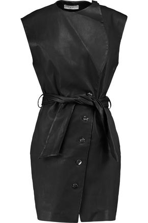 IRO Belted leather wrap dress