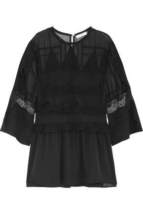 IRO Ruffle and lace-paneled chiffon mini dress