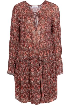 IRO Smocked printed georgette mini dress