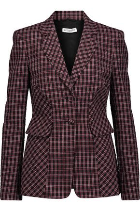 ALTUZARRA Felix crinkled plaid stretch-cotton blazer