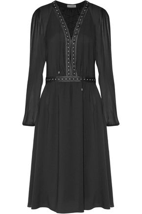 ALTUZARRA Millows lace-up silk chiffon-paneled studded crepe dress