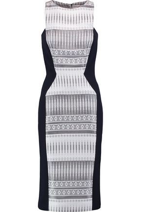 AMANDA WAKELEY Paneled metallic jacquard and twill midi dress
