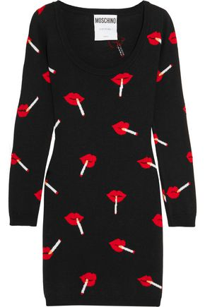 MOSCHINO COUTURE Intarsia wool mini dress