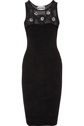 MOSCHINO Embellished crochet knit-paneled terry dress