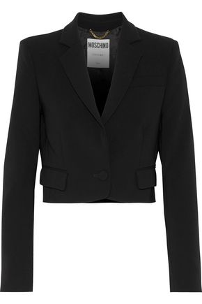 MOSCHINO Cropped printed crepe blazer