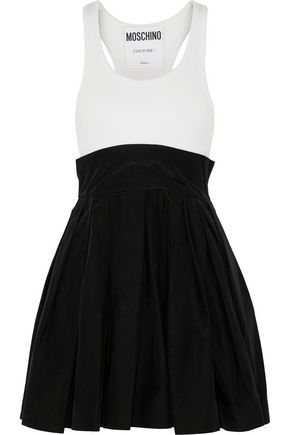 MOSCHINO Paneled rib-knit and cotton-blend taffeta mini dress