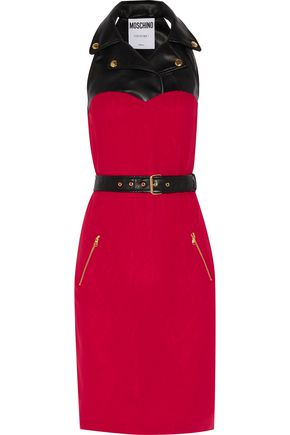 MOSCHINO Faux leather-paneled silk-crepe dress