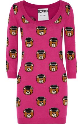 MOSCHINO COUTURE Intarsia-knit wool dress
