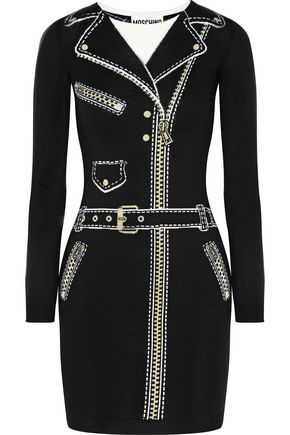 MOSCHINO Metallic intarsia-knit wool mini dress