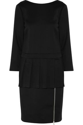 MOSCHINO Pleated wool-blend twill peplum dress