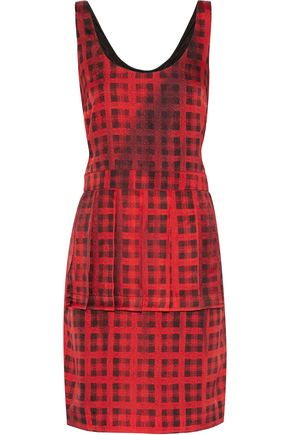 MOSCHINO Pleated checked silk dress