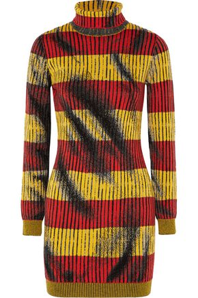 MOSCHINO COUTURE Striped jacquard-knit wool turtleneck mini dress