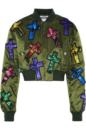 MOSCHINO Cropped appliquéd satin jacket