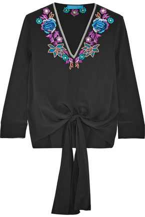 MATTHEW WILLIAMSON ESCAPE Embroidered silk-satin top