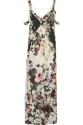 CALVIN KLEIN COLLECTION Paneled floral-print twill maxi dress