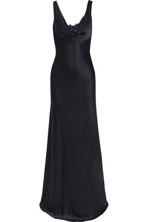 AMANDA WAKELEY Embroidered draped silk gown
