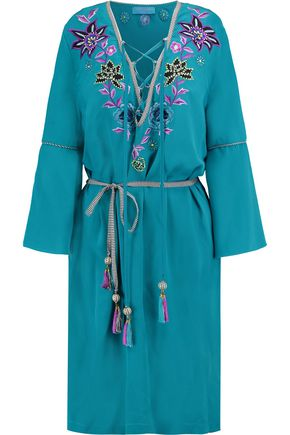 MATTHEW WILLIAMSON Embellished belted silk-chiffon mini dress