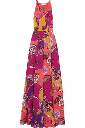 MATTHEW WILLIAMSON Himitsu Garden printed pleated silk-chiffon gown