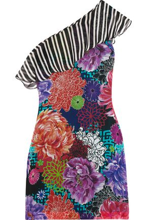 MATTHEW WILLIAMSON ESCAPE Miyazaki Mirage one-shoulder printed silk mini dress