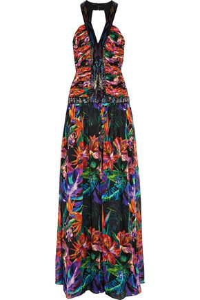 MATTHEW WILLIAMSON Sequin-embellished printed silk-chiffon gown