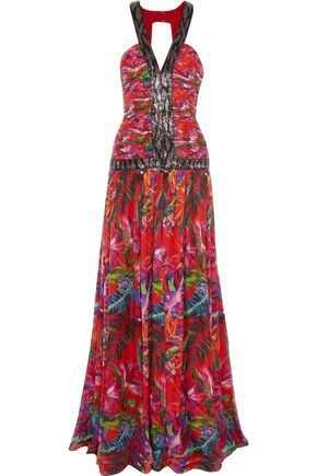 MATTHEW WILLIAMSON Maracus Montage bead-embellished printed silk gown
