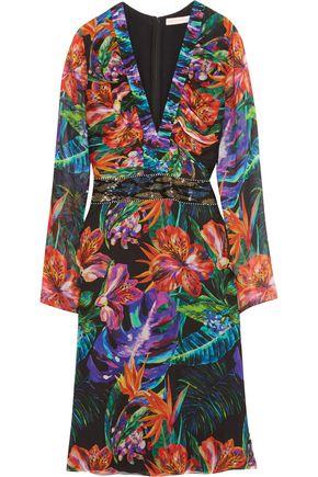 MATTHEW WILLIAMSON Embellished floral-print silk-chiffon dress