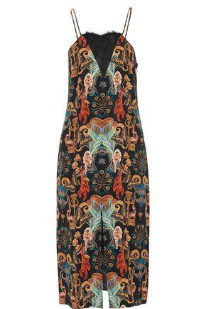 MATTHEW WILLIAMSON Lace-paneled printed silk-satin dress