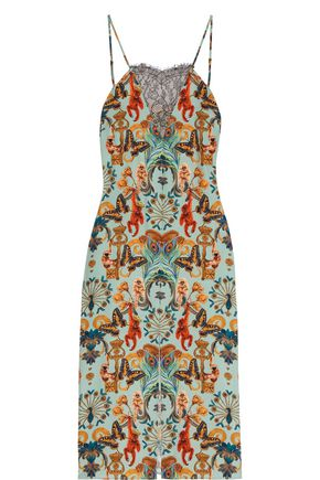 MATTHEW WILLIAMSON Regal Monkey lace-paneled printed silk slip dress
