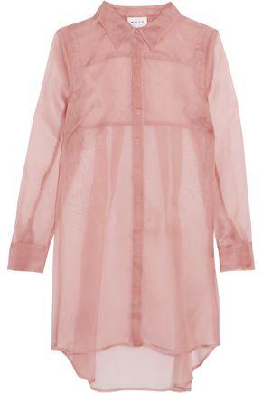MILLY Pleated silk-organza mini shirt dress
