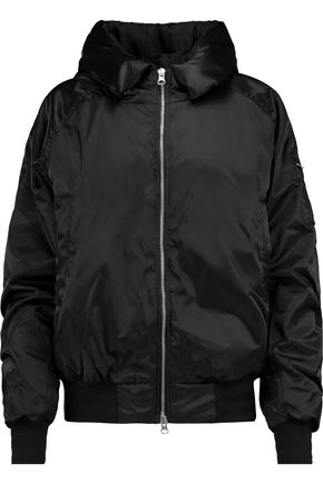 ADIDAS Hooded ruched shell bomber jacket