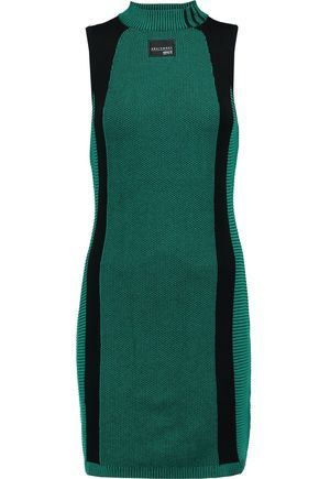 ADIDAS ORIGINALS Paneled cotton-knit mini dress