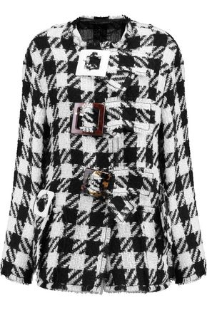 DOLCE & GABBANA Buckle-embellished checked wool-blend jacket