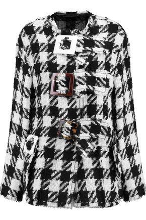DOLCE & GABBANA Buckle-embellished checked wool-blend jacket