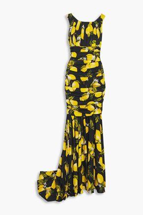 DOLCE & GABBANA Gathered printed silk-blend satin gown