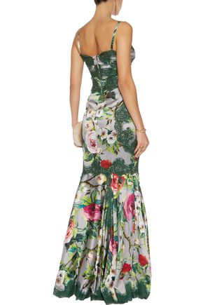 DOLCE & GABBANA Giupure lace-trimmed floral-print silk-blend satin gown
