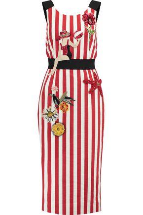 DOLCE & GABBANA Embellished striped cotton-blend dress