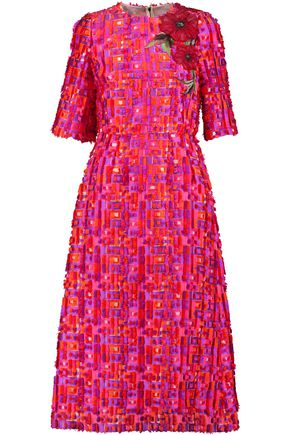 DOLCE & GABBANA Embroidered fil-coupé woven midi dress
