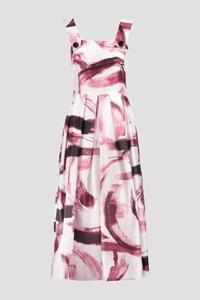 DOLCE & GABBANA Pleated printed silk-twill midi dress