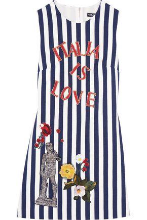 DOLCE & GABBANA Embellished striped cotton-blend mini dress