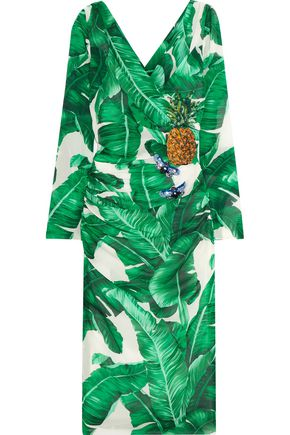DOLCE & GABBANA Embellished printed silk-blend dress